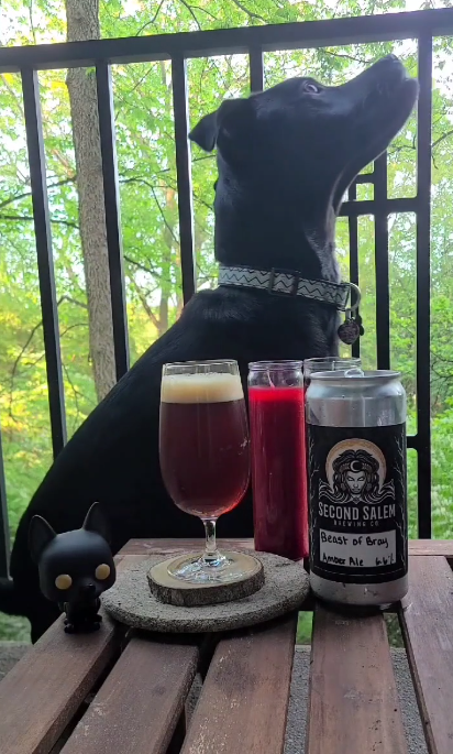 Beast of Bray Road Amber Ale from Second Salem Brewing sits on wood table outside with red and black candle. Black dog pop (Sirius Black from Harry Potter) and Loki the black dog from the Shaken Not Scared Podcast sit in front of the beer poured into a glass.