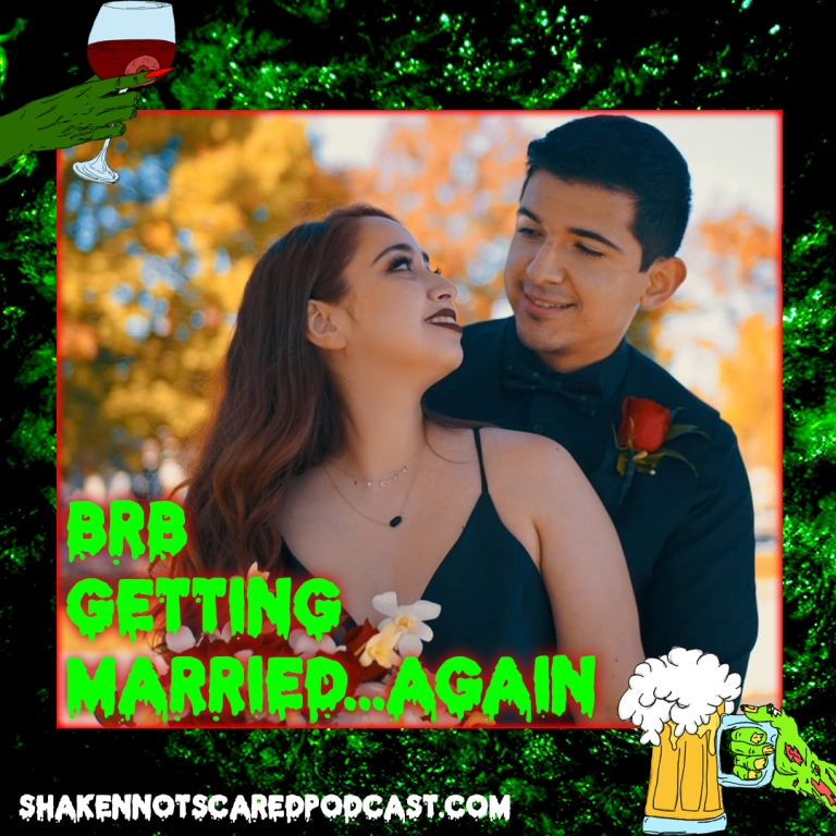 Shaken Not Scared Podcast banner. Vivi and Erick at wedding in Salem, MA wearing all black.